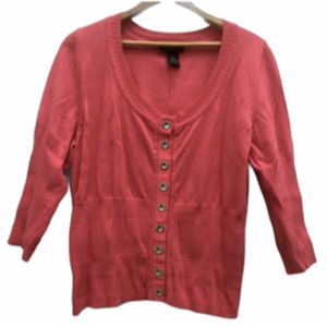 Lane Bryant 18 20 Top Cardigan Pink Button